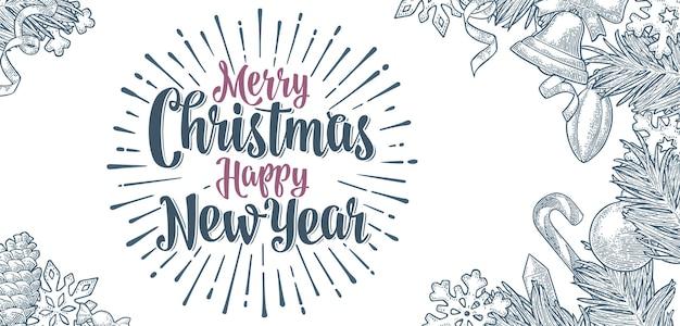 Joyeux noël happy new year lettrage de calligraphie gravure monochrome de vecteur