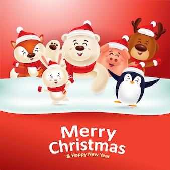 Joyeux noël heureuse nouvelle année! animaux mignons avec panneau rouge