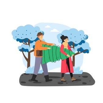 Joyeux noël. heureux couple portant arbre de noël se préparant à la célébration