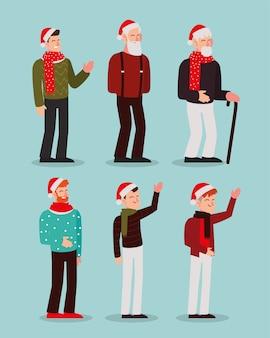 Joyeux noël hommes caractère saison célébration icônes illustration