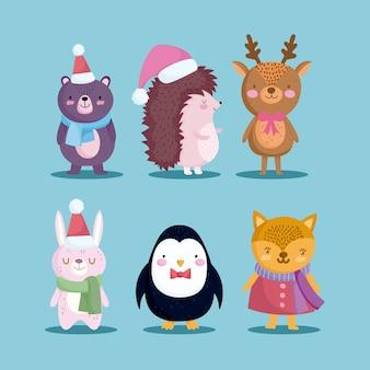Joyeux noël, icônes, ensemble, hérisson, ours, renne, pingouin, et, lapin, illustration