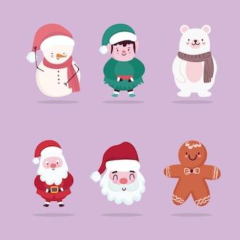 Joyeux noël icons set personnages santa helper bear bonhomme de neige bonhomme en pain d'épice