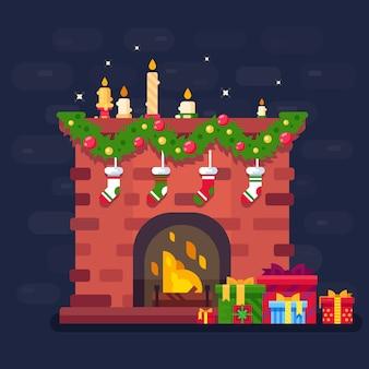 Joyeux noël! illustration de la cheminée de noël avec des cadeaux, des décorations et des bougies. plat
