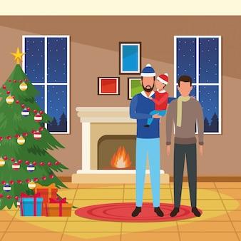 Joyeux noël illustration avec homme avatar avec petit garçon