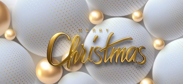Joyeux noël. illustration de vacances. lettrage 3d doré. signe brillant réaliste sur fond de sphères ou boules douces.