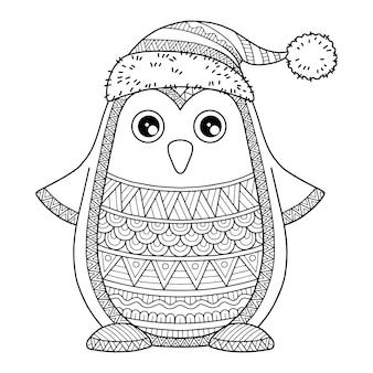 Joyeux noël. jolly penguin. illustration de livre de coloriage