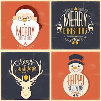 Joyeux noël et joyeuses fêtes carte de voeux vintage