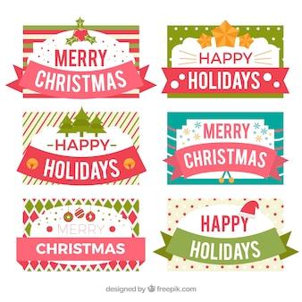 Joyeux noël et joyeuses fêtes étiquettes
