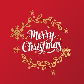 Joyeux Noël Lettrage Avec Des Flocons De Neige Et Des éléments Floraux Vecteur Premium