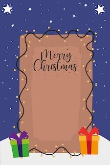 Joyeux noël lettrage avec illustration de décoration lumières et cadeaux