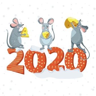Joyeux noël lettrage avec des rats pour carte de voeux