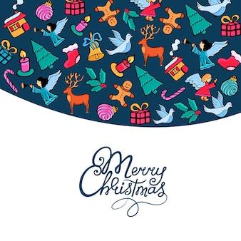 Joyeux noël à la main. carte postale festive pour le nouvel an dans un style doodle..