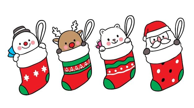 Joyeux noël main dessiner dessin animé mignon bonhomme de neige cerf ours polaire et père noël dans de grandes chaussettes.