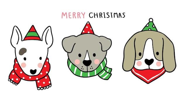 Joyeux noël main dessiner dessin animé mignon chiens et écharpe.
