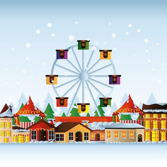 Joyeux noël maisons roue ferris avec lumières décoratives et illustration de neige