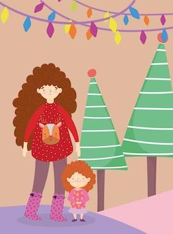 Joyeux noël maman avec chandail fille arbre lumières célébration