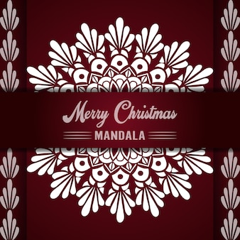 Joyeux noël mandala fond avec salutations ornementales et conception abstraite de bonne année