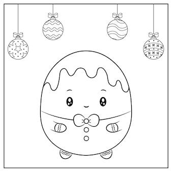Joyeux noël mignon biscuit au gingembre dessin avec croquis d'ornements de noël à colorier