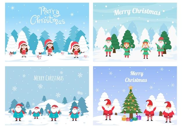 Joyeux noël mignon dessin animé nain petite fantaisie, père noël et elfes caractères fond illustration vectorielle