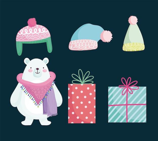 Joyeux noël, mignon ours polaire cadeaux et chapeaux illustration de dessin animé