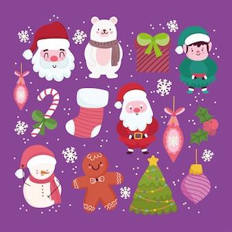 Joyeux noël, mignon père noël bonhomme de neige aide ours pain d'épice biscuit arbre boules fond illustration vectorielle
