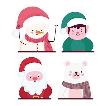 Joyeux noël, mignon portrait santa helper bear et bonhomme de neige icônes vector illustration