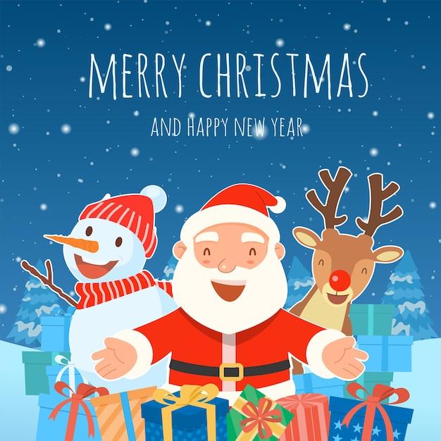 Joyeux noël avec le modèle de cadeaux du père noël carte de vœux
