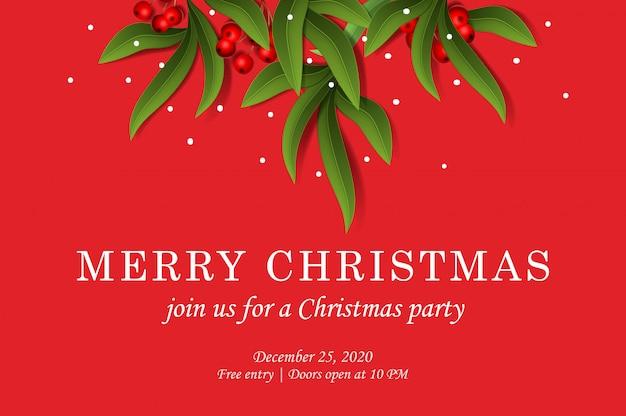 Joyeux noël. modèle d'invitation de fête avec des feuilles d'eucalyptus et des fruits rouges, illustration.
