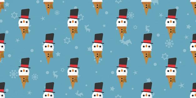 Joyeux noël, modèle sans couture de bonhomme de neige de glaces.