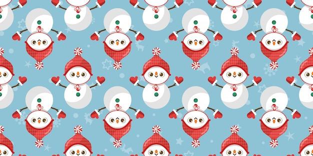 Joyeux noël, modèle sans couture de bonhomme de neige.