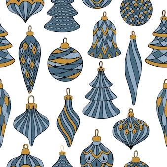 Joyeux noël, modèle sans couture de bonne année avec des cartes de voeux de boules de noël, papiers d'emballage.