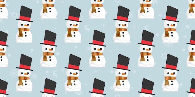 Joyeux noël, modèle sans couture de père noël bonhomme de neige.