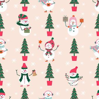 Joyeux noël motif seamlees mignon avec bonhomme de neige et flocons de neige pour des cadeaux de bonne année. ensemble de style scandinave pour invitation, chambre d'enfants, décor de crèche, design d'intérieur, textile