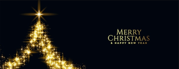 Joyeux noël et nouvel an bannière avec arbre scintillant doré