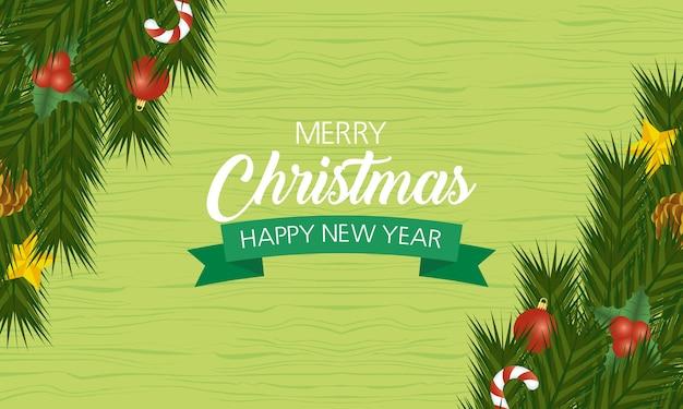 Joyeux noël et nouvel an carte avec feuilles et ruban.