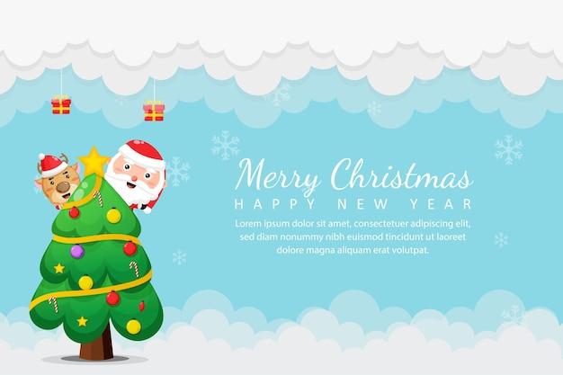 Joyeux noël et nouvel an avec le père noël et l'arbre de noël