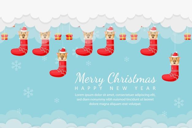Joyeux noël et nouvel an avec porte-chaussettes et coffret cadeau