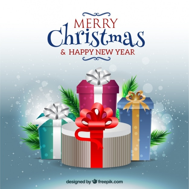 Joyeux noël et nouvel arrière-plan de l'année avec des cadeaux