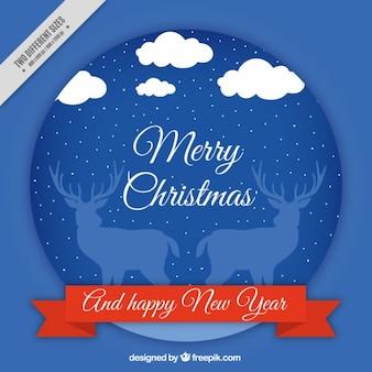 Joyeux noël et nouvel arrière-plan de l'année avec des rennes et la neige