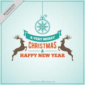 Joyeux noël et nouvelle carte de l'année avec des rennes en design rétro