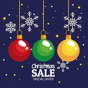Joyeux noël offre vente sphères suspendus design, saison d'hiver et thème de décoration