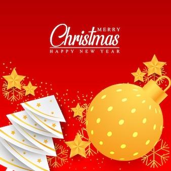 Joyeux noël ornements fond design nouvel an bannière design éléments de noël étoiles boules