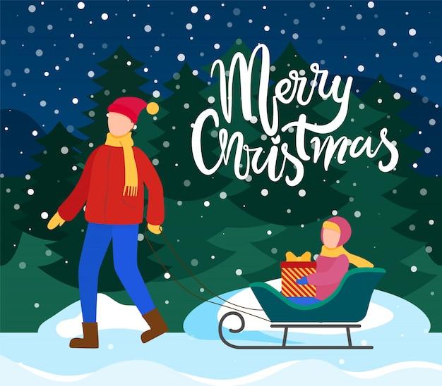 Joyeux noël papa avec enfant sur traîneaux avec présent