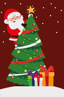Joyeux noël père noël en arbre et cadeaux célébration décoration illustration