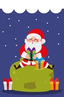 Joyeux noël père noël avec des cadeaux assis sur l'illustration de décoration de célébration de sac