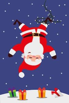 Joyeux noël, père noël emmêlé avec des lumières dans la neige illustration