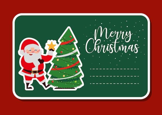 Joyeux noël père noël avec illustration d'autocollant de décoration étoile et arbre