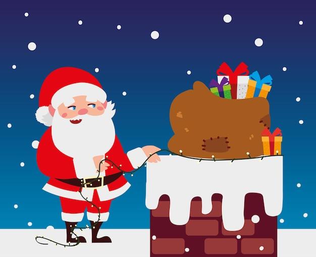 Joyeux noël père noël avec des lumières et un sac dans l'illustration de la cheminée