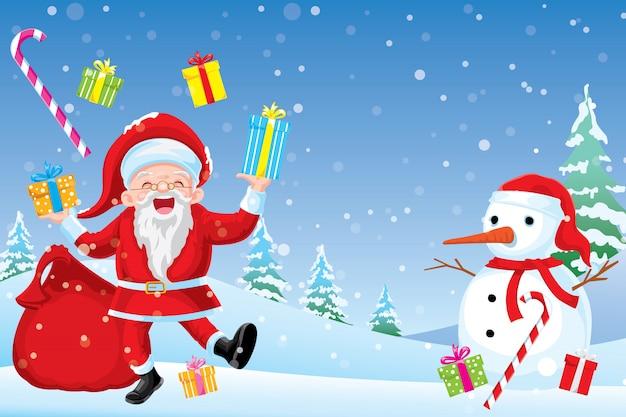 Joyeux noël, le père noël a souri et a été gentil et a préparé un coffret cadeau pour les enfants.