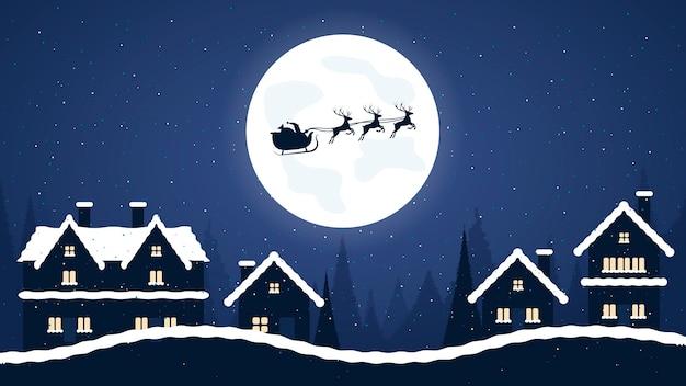 Joyeux noël, père noël et traîneau avec des rennes dans la nuit